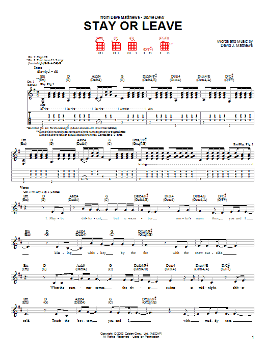 Stay or Leave Sheet Music