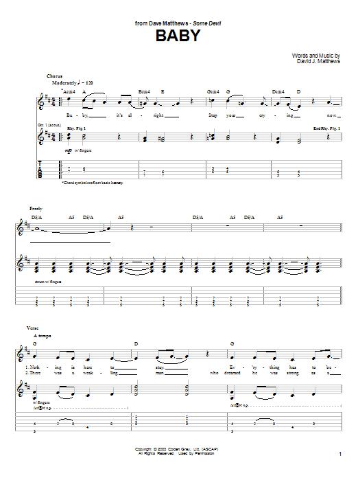 Tablature guitare Baby de Dave Matthews - Tablature Guitare
