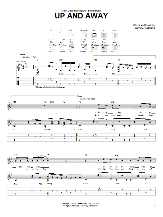 Tablature guitare Up and Away de Dave Matthews - Tablature Guitare