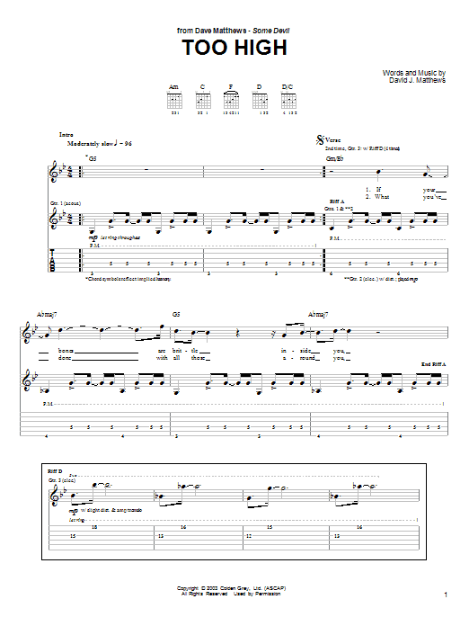 Too High Sheet Music