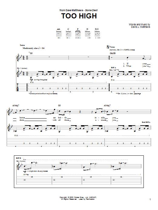 Tablature guitare Too High de Dave Matthews - Tablature Guitare