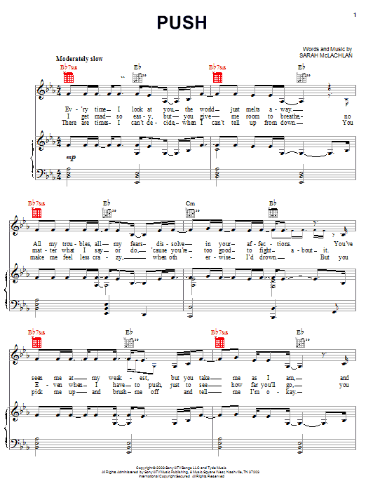 Push (Piano, Vocal & Guitar (Right-Hand Melody))