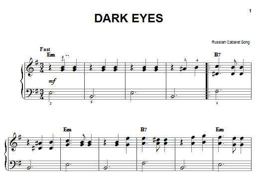 Partition piano Dark Eyes de Russian Cabaret Song - Piano Facile
