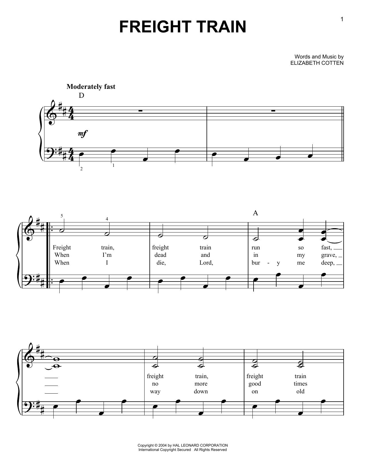 Partition piano Freight Train de Elizabeth Cotten - Piano Facile