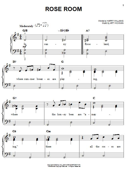 Partition piano Rose Room de Benny Goodman - Piano Facile