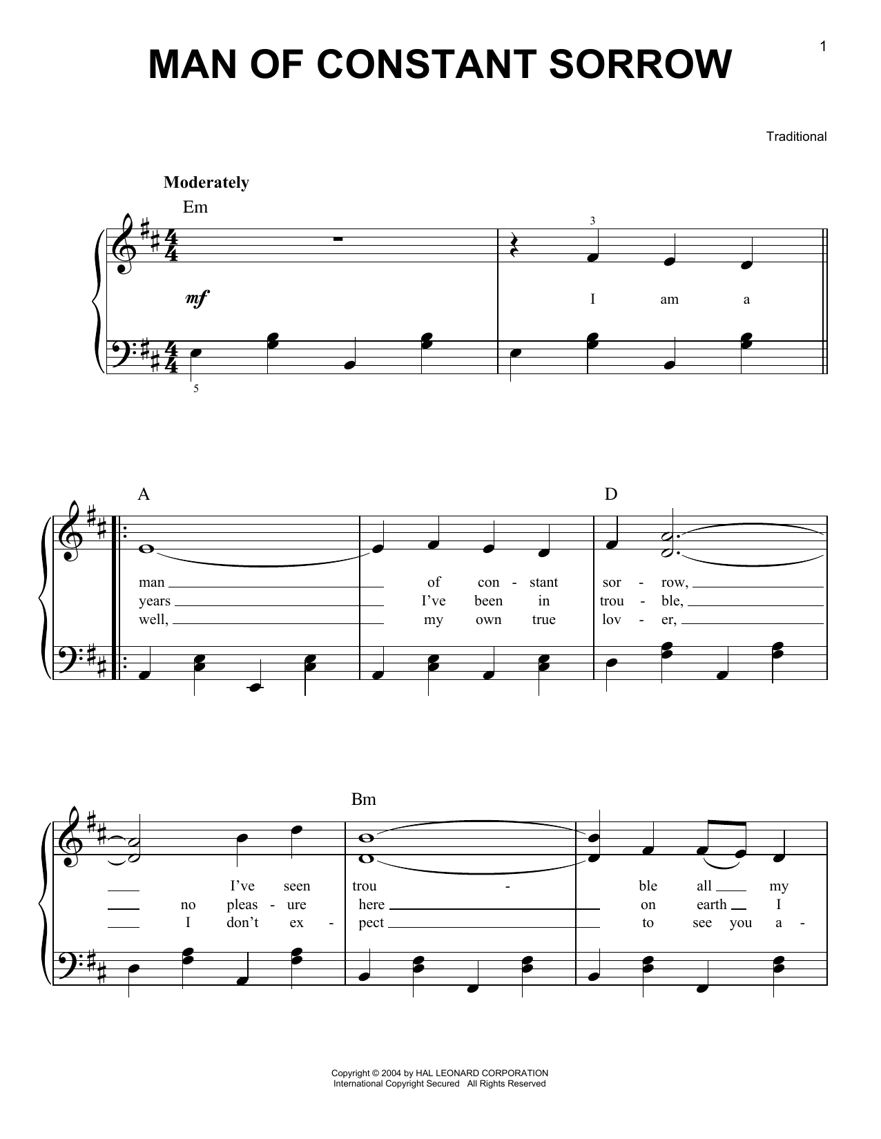 Man Of Constant Sorrow Sheet Music