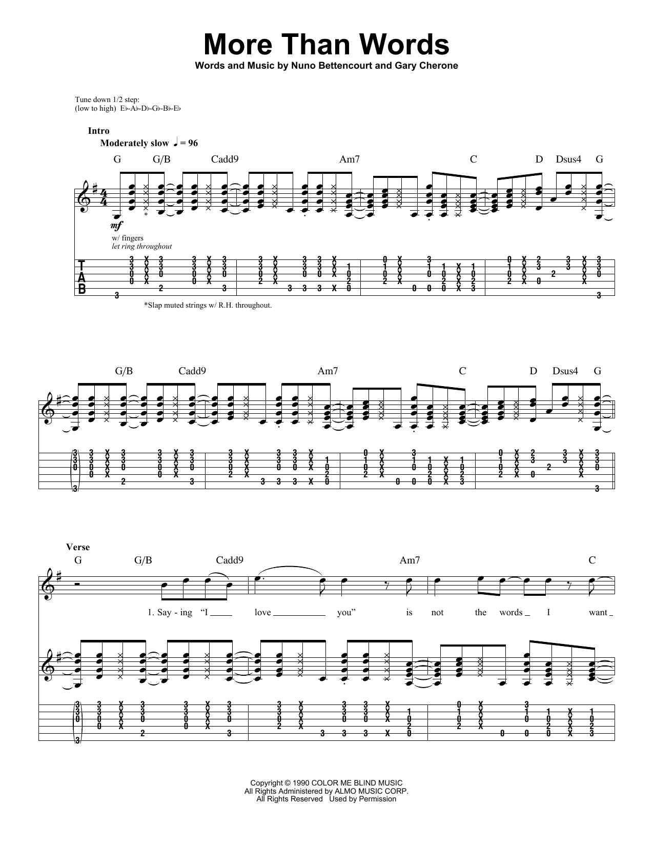 Tablature guitare More Than Words de Extreme - Playback Guitare