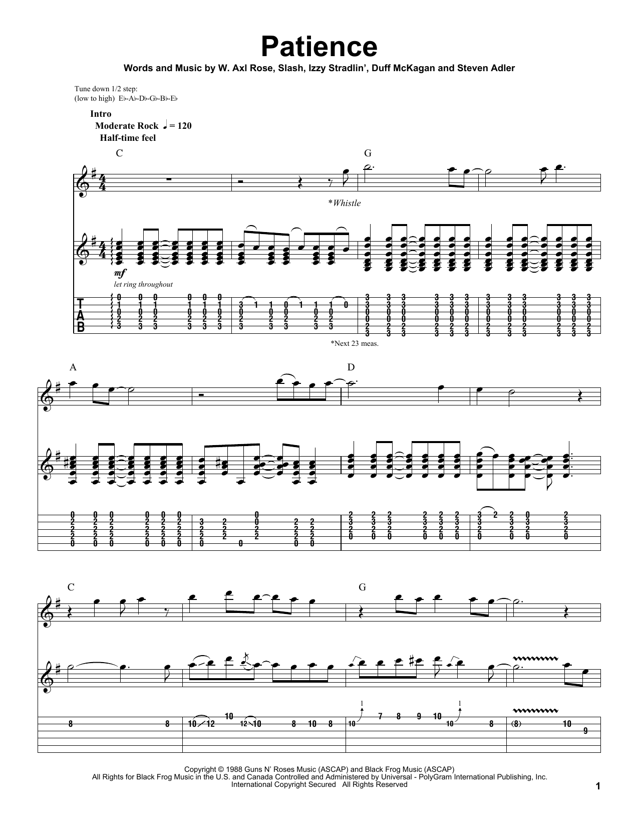 Tablature guitare Patience de Guns N' Roses - Playback Guitare