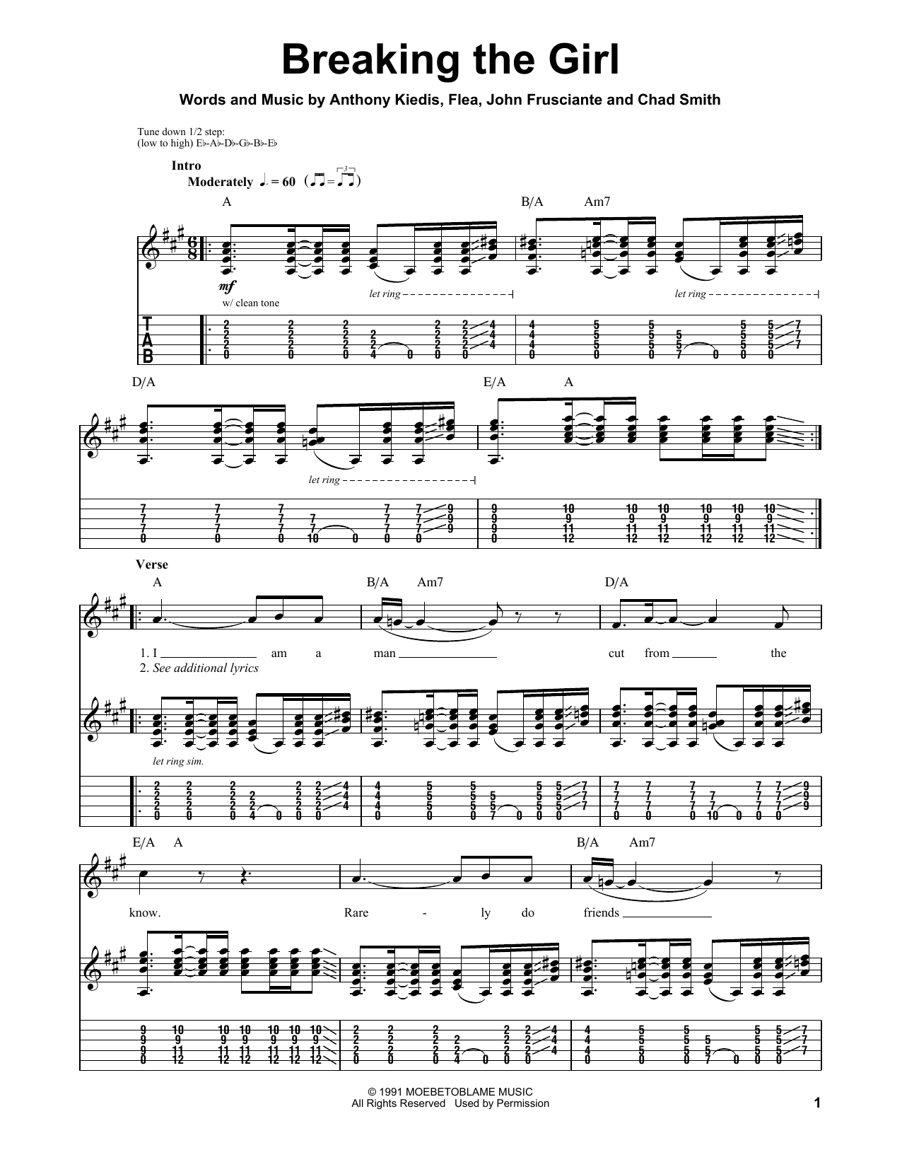Breaking The Girl Sheet Music