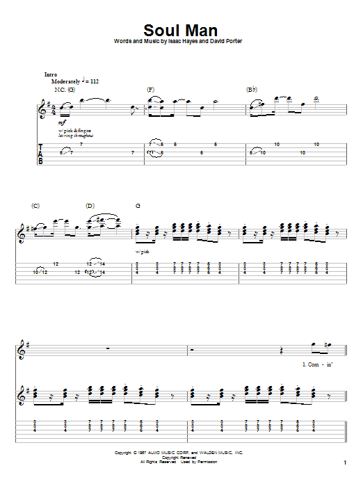 Tablature guitare Soul Man de Sam & Dave - Autre