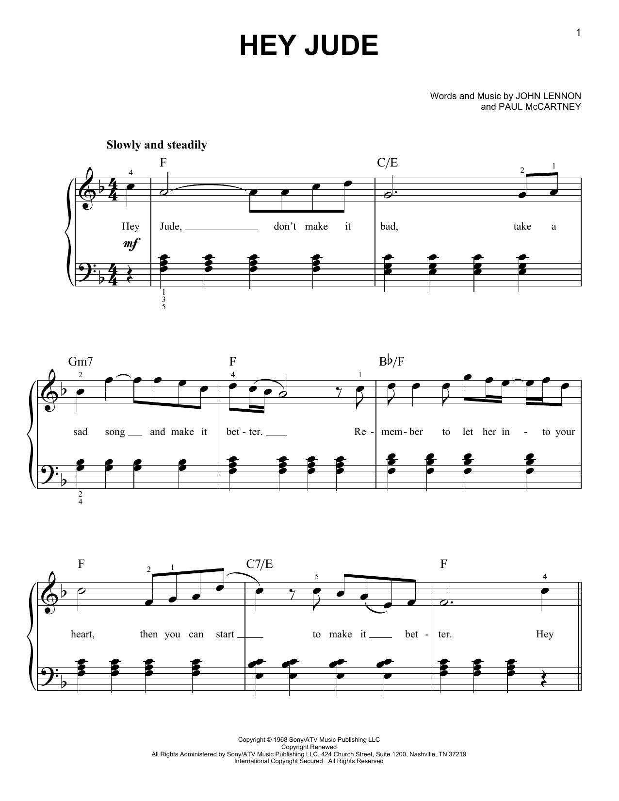Hey Jude sheet music by The Beatles (Easy Piano – 27287)