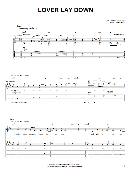 Tablature guitare Lover Lay Down de Dave Matthews & Tim Reynolds - Tablature Guitare