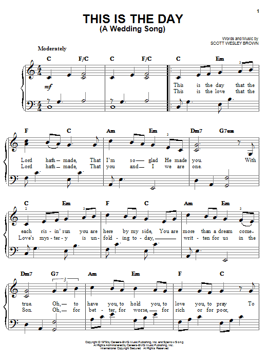 This Is The Day (A Wedding Song) Sheet Music