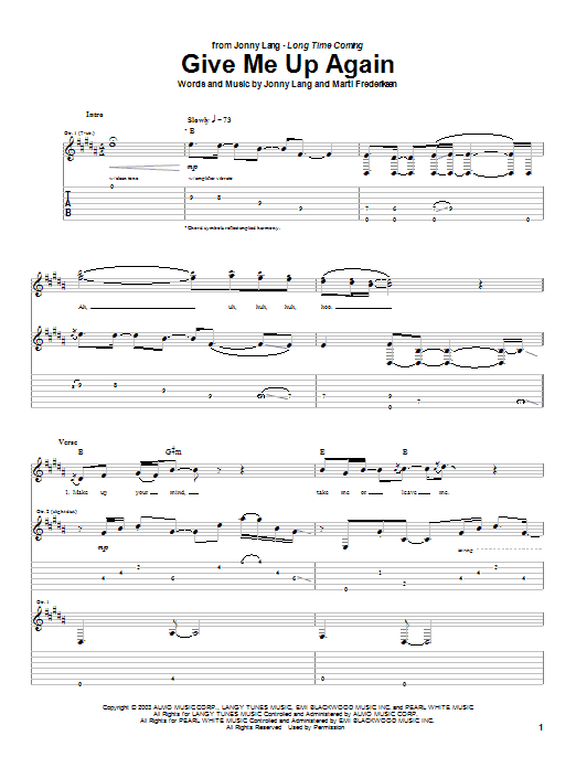 Tablature guitare Give Me Up Again de Jonny Lang - Tablature Guitare