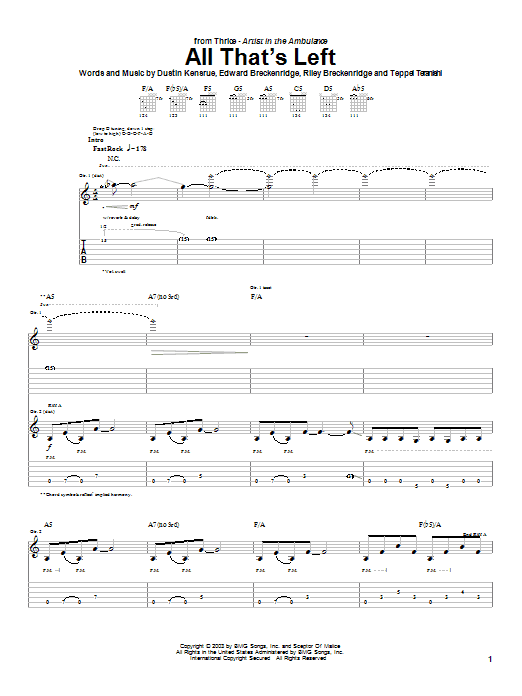 Tablature guitare All That's Left de Thrice - Tablature Guitare