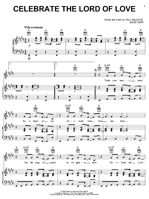 Celebrate The Lord Of Love (Piano, Vocal & Guitar (Right-Hand Melody))