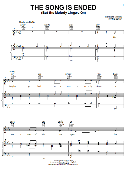 The Song Is Ended (But The Melody Lingers On) Sheet Music