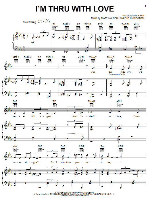 I'm Thru With Love (Piano, Vocal & Guitar (Right-Hand Melody))