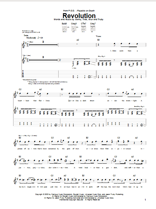 Tablature guitare Revolution de P.O.D. (Payable On Death) - Tablature Guitare