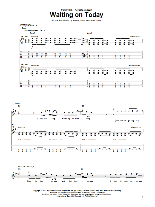 Waiting On Today (Guitar Tab)