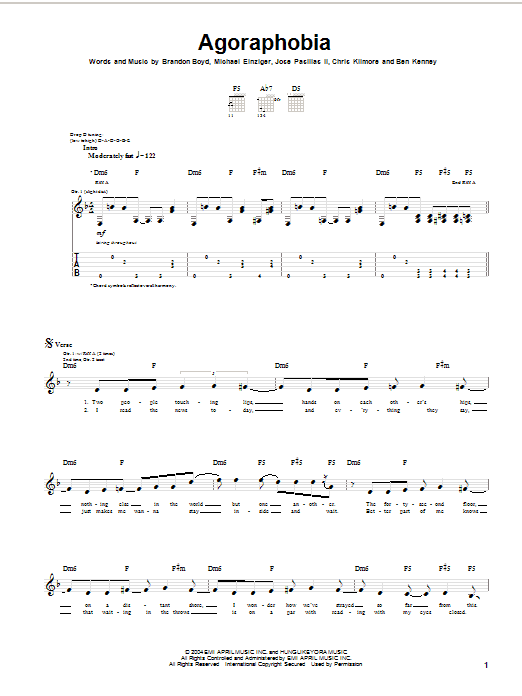 Tablature guitare Agoraphobia de Incubus - Tablature Guitare