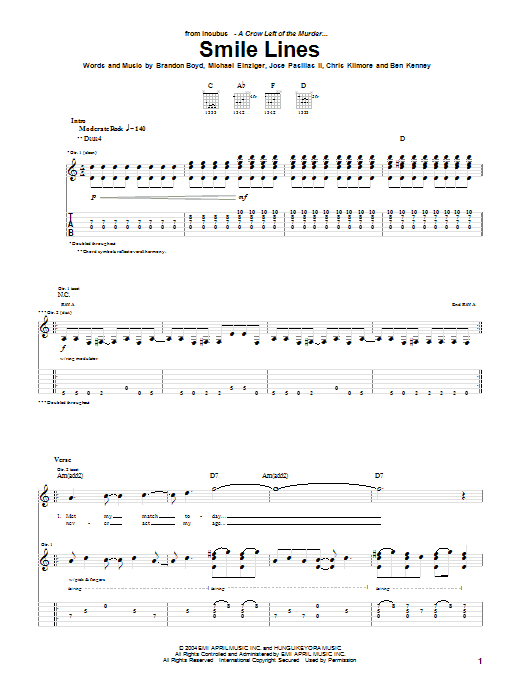 Tablature guitare Smile Lines de Incubus - Tablature Guitare
