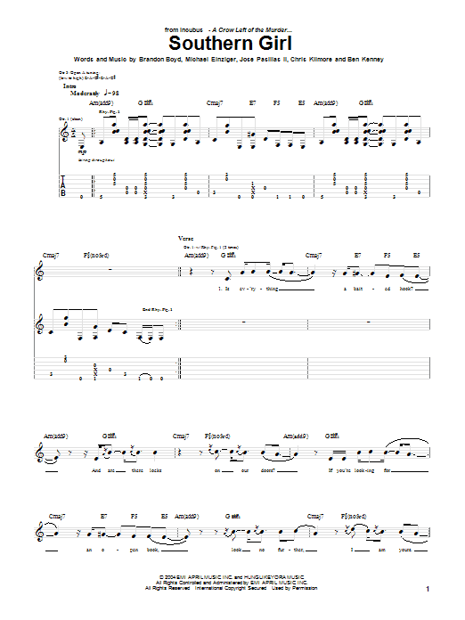 Tablature guitare Southern Girl de Incubus - Tablature Guitare