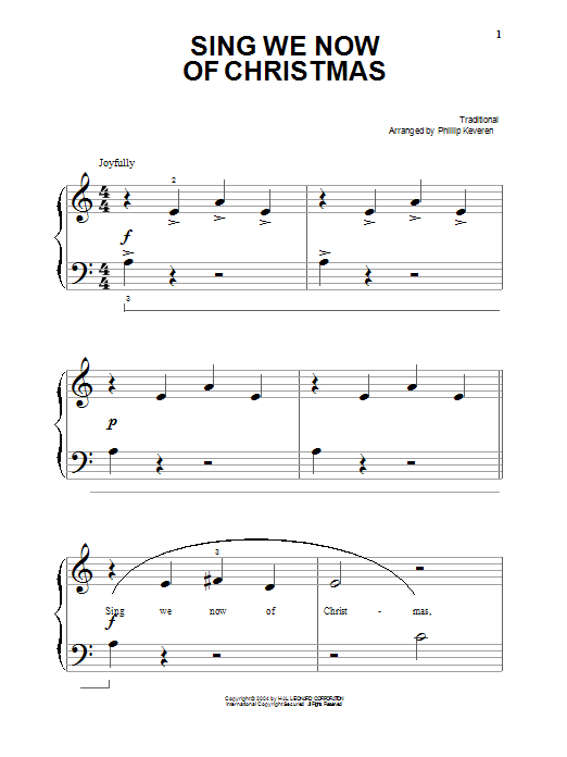 Partition piano Sing We Now Of Christmas de Christmas Carol - Piano Solo