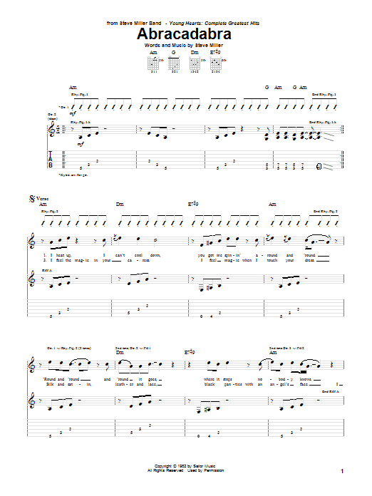 Tablature guitare Abracadabra de Steve Miller Band - Tablature Guitare