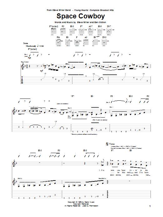 Space Cowboy Guitar Tab by Steve Miller Band (Guitar Tab – 52472)