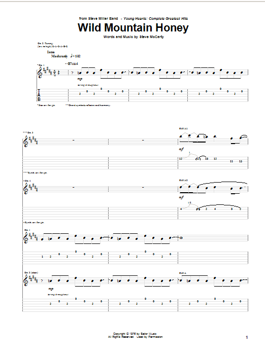 Wild Mountain Honey by Steve Miller Band - Guitar Tab