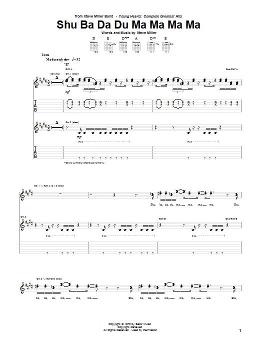 Shu Ba Da Du Ma Ma Ma Ma Sheet Music
