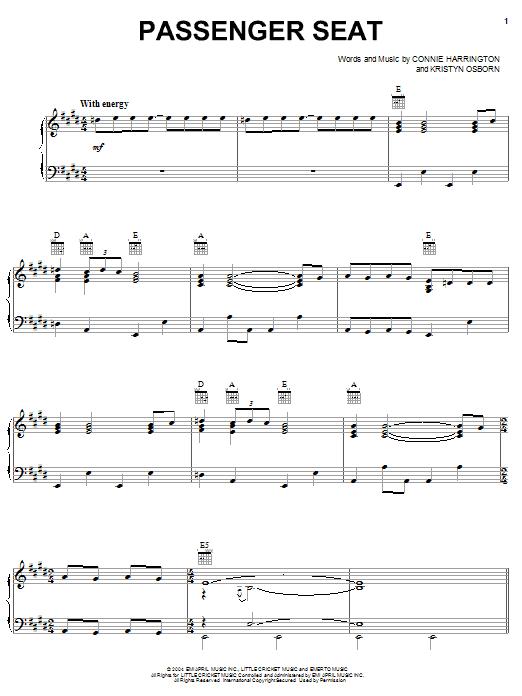 Partition piano Passenger Seat de SheDaisy - Piano Voix Guitare (Mélodie Main Droite)