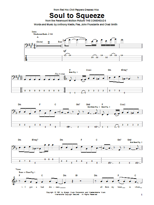 Soul To Squeeze (from The Coneheads) (Bass Guitar Tab)