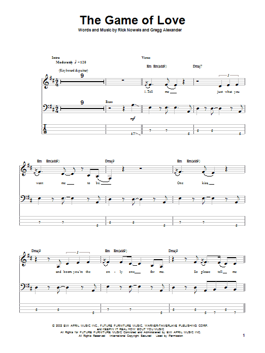 The Game Of Love (Bass Guitar Tab)