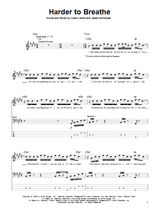 Tablature guitare Harder To Breathe de Maroon 5 - Tablature Basse