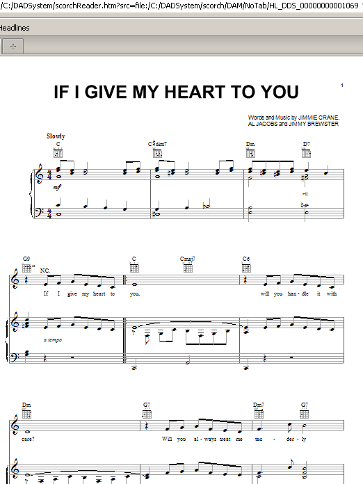 Partition piano If I Give My Heart To You de Doris Day - Piano Voix Guitare (Mélodie Main Droite)