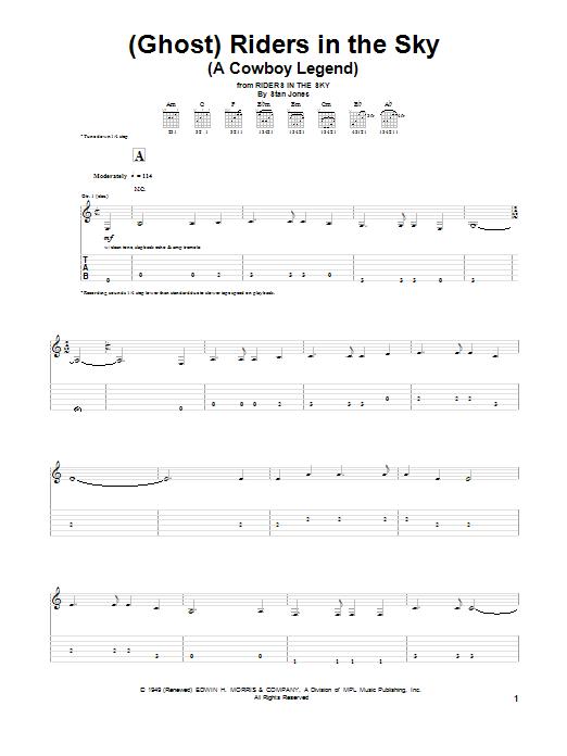 Tablature guitare (Ghost) Riders In The Sky (A Cowboy Legend) de Dick Dale - Tablature Guitare