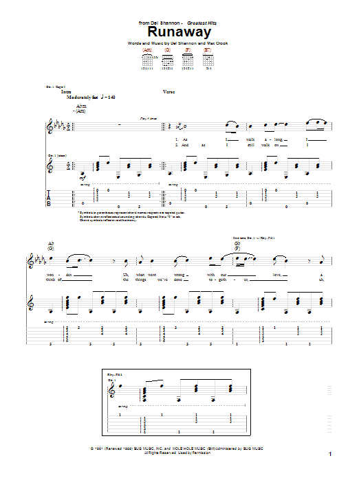 Tablature guitare Runaway de Del Shannon - Tablature Guitare