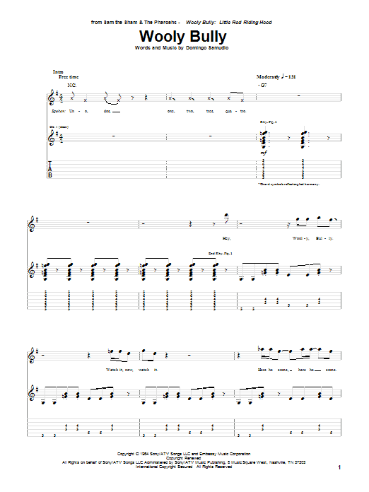 Tablature guitare Wooly Bully de Sam The Sham & The Pharaohs - Tablature Guitare