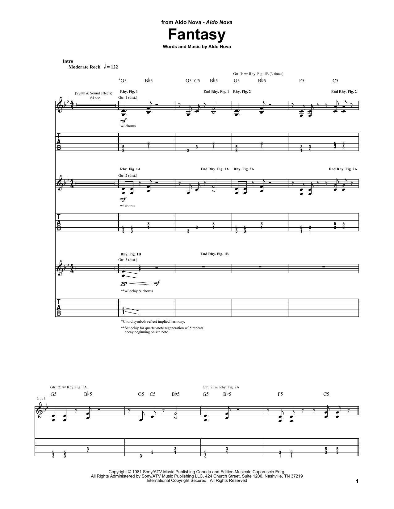 Tablature guitare Fantasy de Aldo Nova - Tablature Guitare