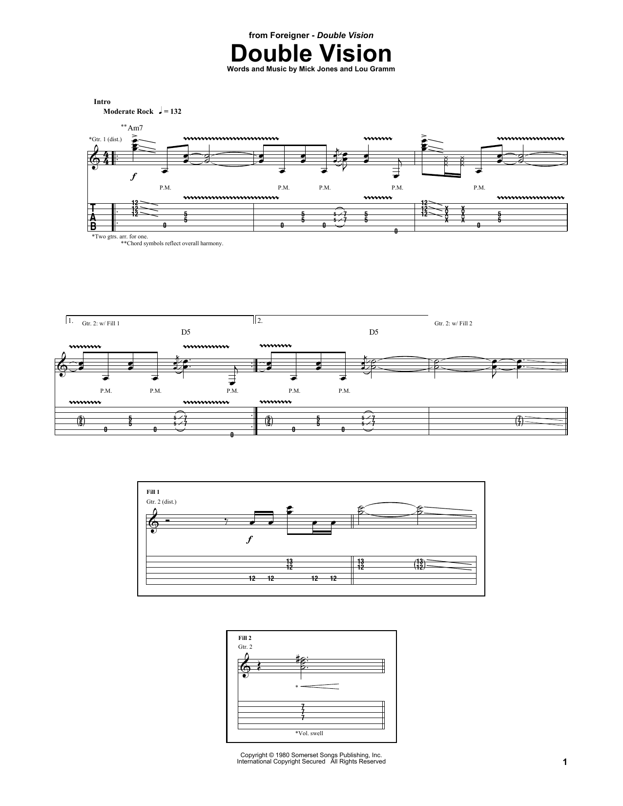 Double Vision (Guitar Tab)