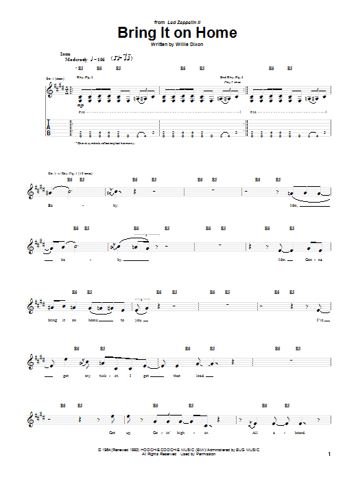 Tablature guitare Bring It On Home de Willie Dixon - Tablature Guitare