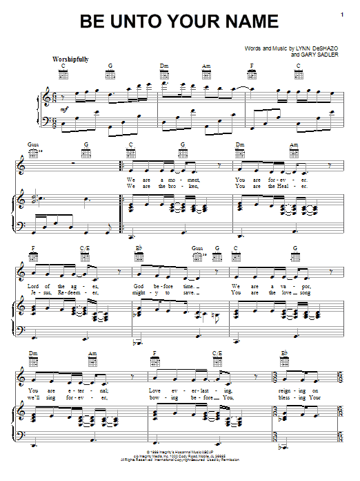 Be Unto Your Name (Piano, Vocal & Guitar (Right-Hand Melody))