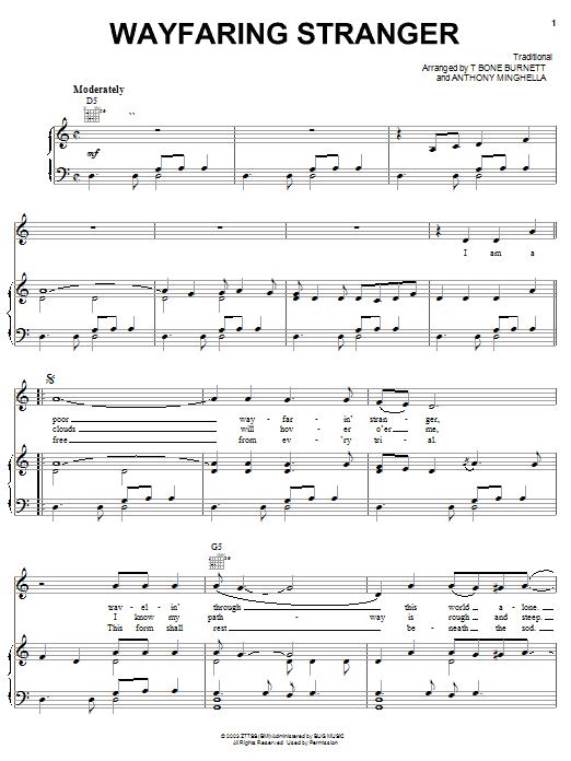 Wayfaring Stranger (Piano, Vocal & Guitar (Right-Hand Melody))