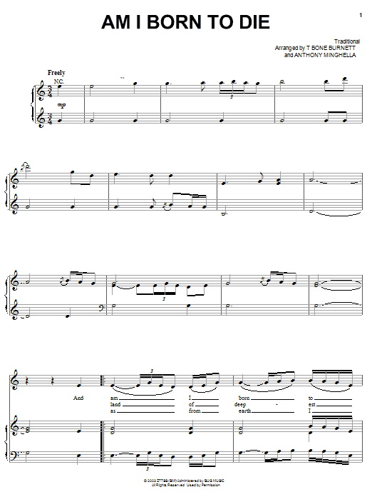 Am I Born To Die Sheet Music