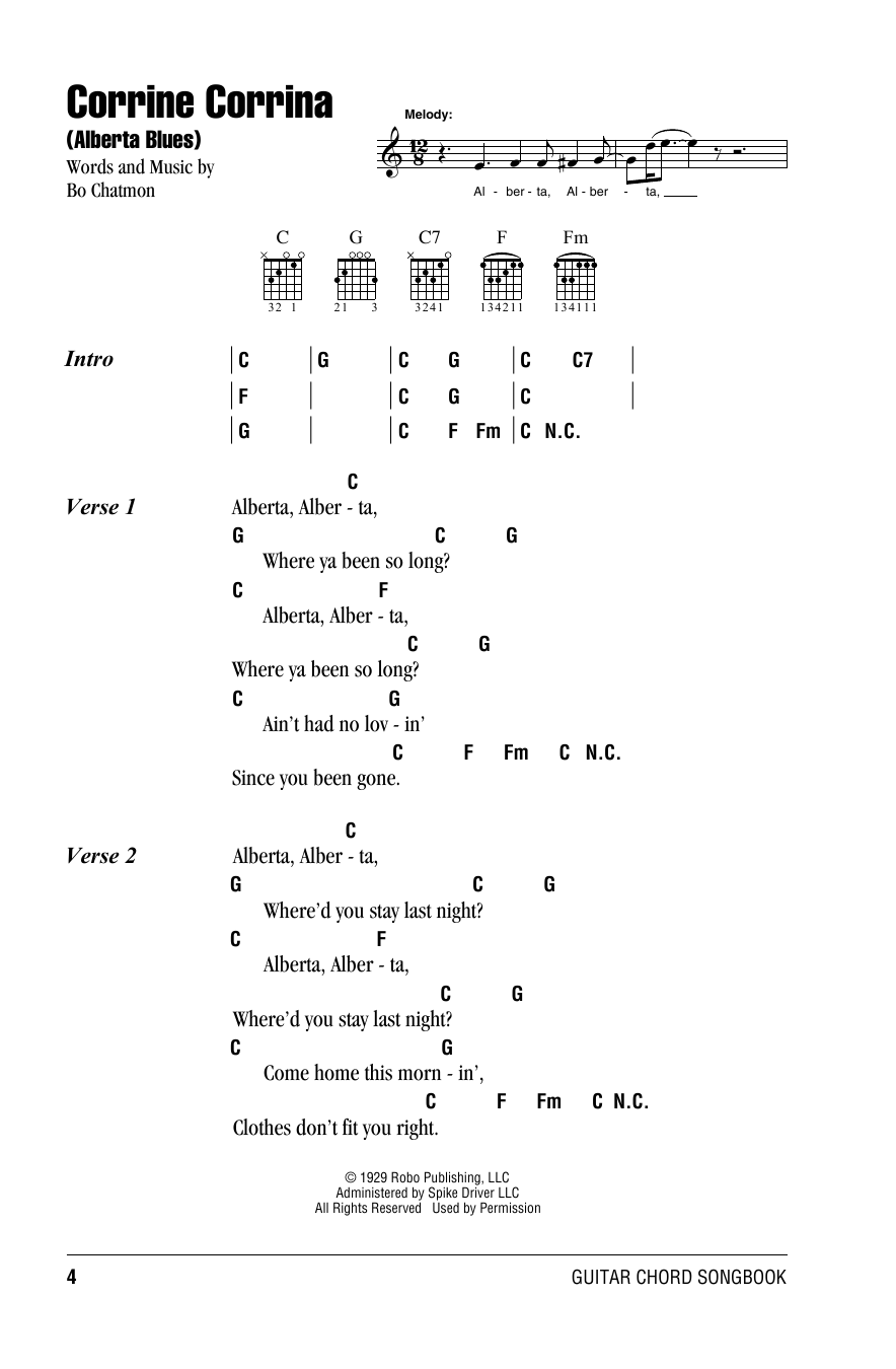 Alberta (Guitar Chords/Lyrics)