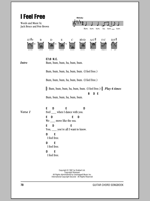 I Feel Free Sheet Music