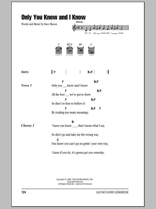 Only You Know And I Know by Eric Clapton - Guitar Chords/Lyrics ...