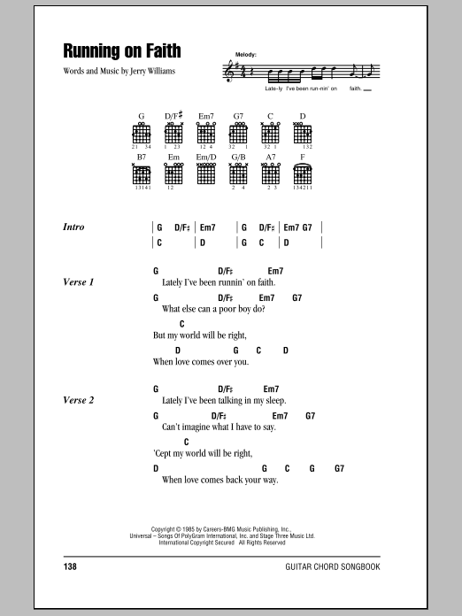 Running On Faith sheet music by Eric Clapton (Lyrics & Chords – 79531)